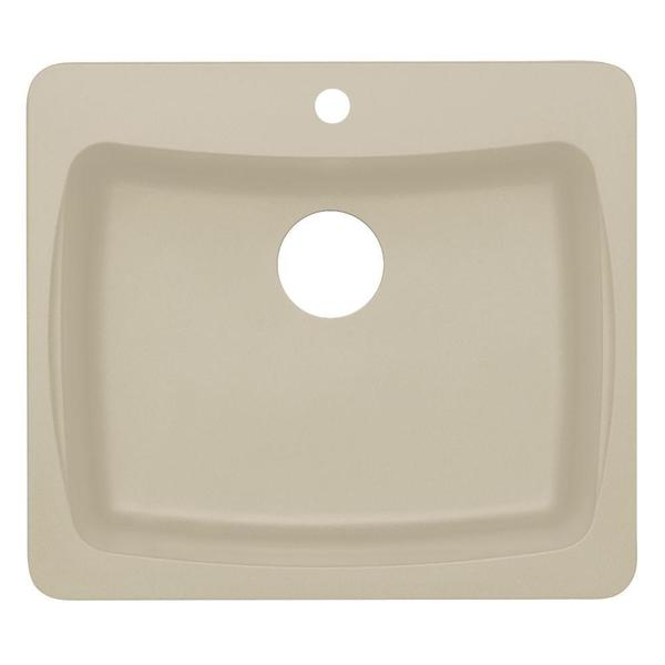 Dual Mount Granite 1-Hole Single Bowl Kitchen Sink in Sahara Beige
