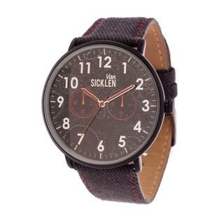 Van Sicklen Men's Black Case with Artwork Dial / Grey Leather Strap Watch