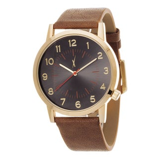 Xtreme Men's Antique Gold Case and Black Dial / Beige Leather Strap Watch