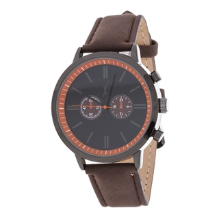 Xtreme Men's Black Case and Dial / Brown Leather Strap Watch