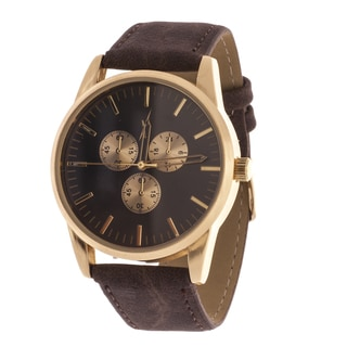 Xtreme Men's Gold Case and Black Dial / Brown Canvas Strap Watch