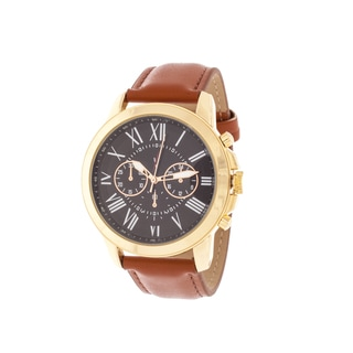 Xtreme Men's Gold Case and Black Dial / Brown Leather Strap Watch