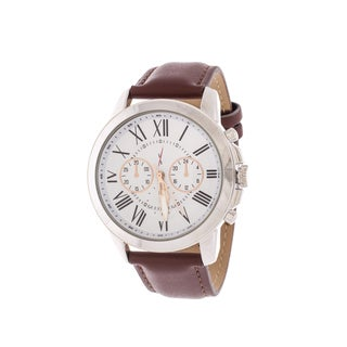 Xtreme Men's Silver Case and Dial / Brown Leather Strap Watch