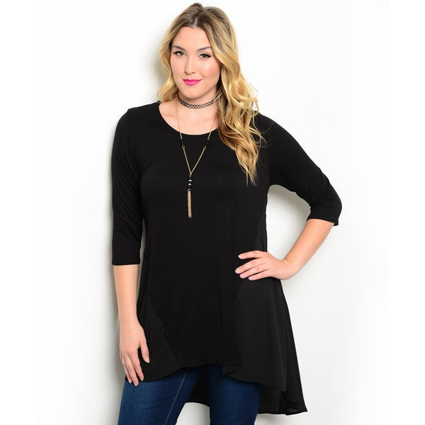 Shop the Trends Women's Plus Size 3/4-Length Sleeve Jersey Top In Navy 3XL (As Is Item)