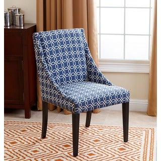 Abbyson Living Sara Swoop Dining Chair, Navy Blue Pattern