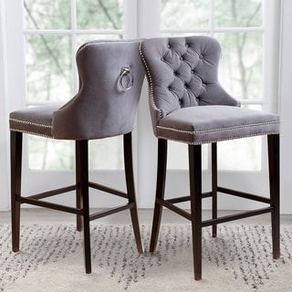 Abbysone Living Versailles Tufted Barstool, Grey