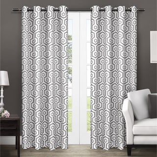 Exclusive Home Geometric Thermal Insulated Grommet Top 84-Inch Curtain Panel Pair
