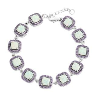 La Preciosa Sterling Silver Created White Opal and Purple Cubic Zirconia Square Link Bracelet