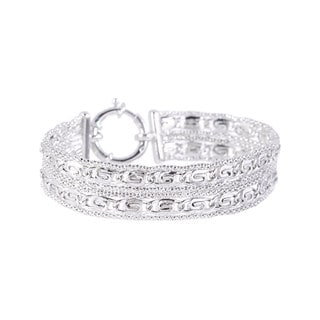 Pori Sterling Silver 2-row Thick Popcorn and Marina Fancy Bracelet