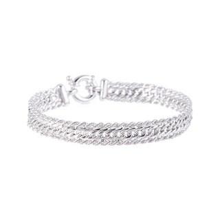 Pori Sterling Silver Rope and Cuban Fancy Bracelet