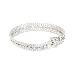 Pori. Sterling Silver Bead and Spiga Bracelet