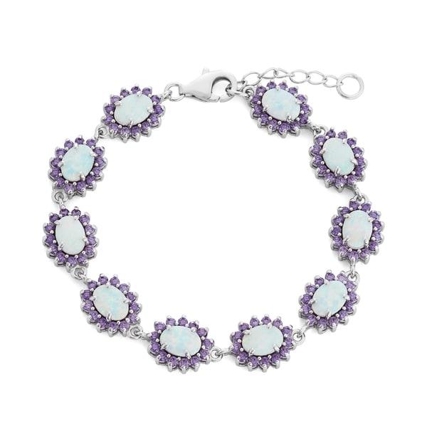 La Preciosa Sterling Silver Created White Opal Purple Cubic Zirconia Link Bracelet 16758079