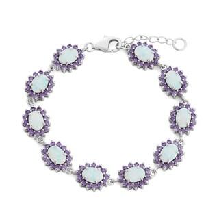 La Preciosa Sterling Silver Created White Opal Purple Cubic Zirconia Link Bracelet