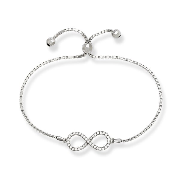 Sterling Silver Reversible Cubic Zirconia Infinity Figure 8 Adjustable Bracelet
