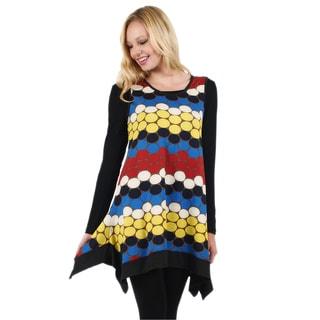 Firmiana Women's Long-Sleeve Multicolor Geometric Tunic