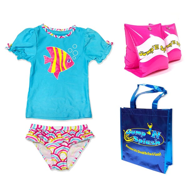 Jump'N Splash Small Girls Fish & Rainbow Waves Rash Guard Set
