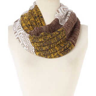 Yellow and Brown Geometric Colorblock Infinity Scarf
