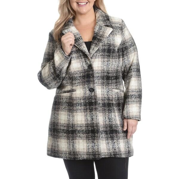 Steve Madden Women's Plus Size Boyfriend Single-Breasted Coat