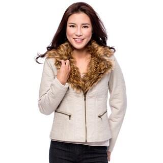Women's Fur Collar Zip Front Jacket