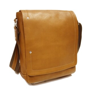 Piel Leather 11-inch Flap-Over Carry-All Vertical Messenger Bag