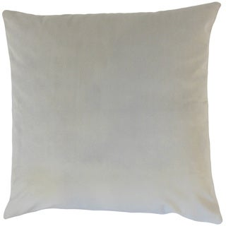 Nizar Solid Smoke 18-inch Feather and Down Filled Throw Pillow