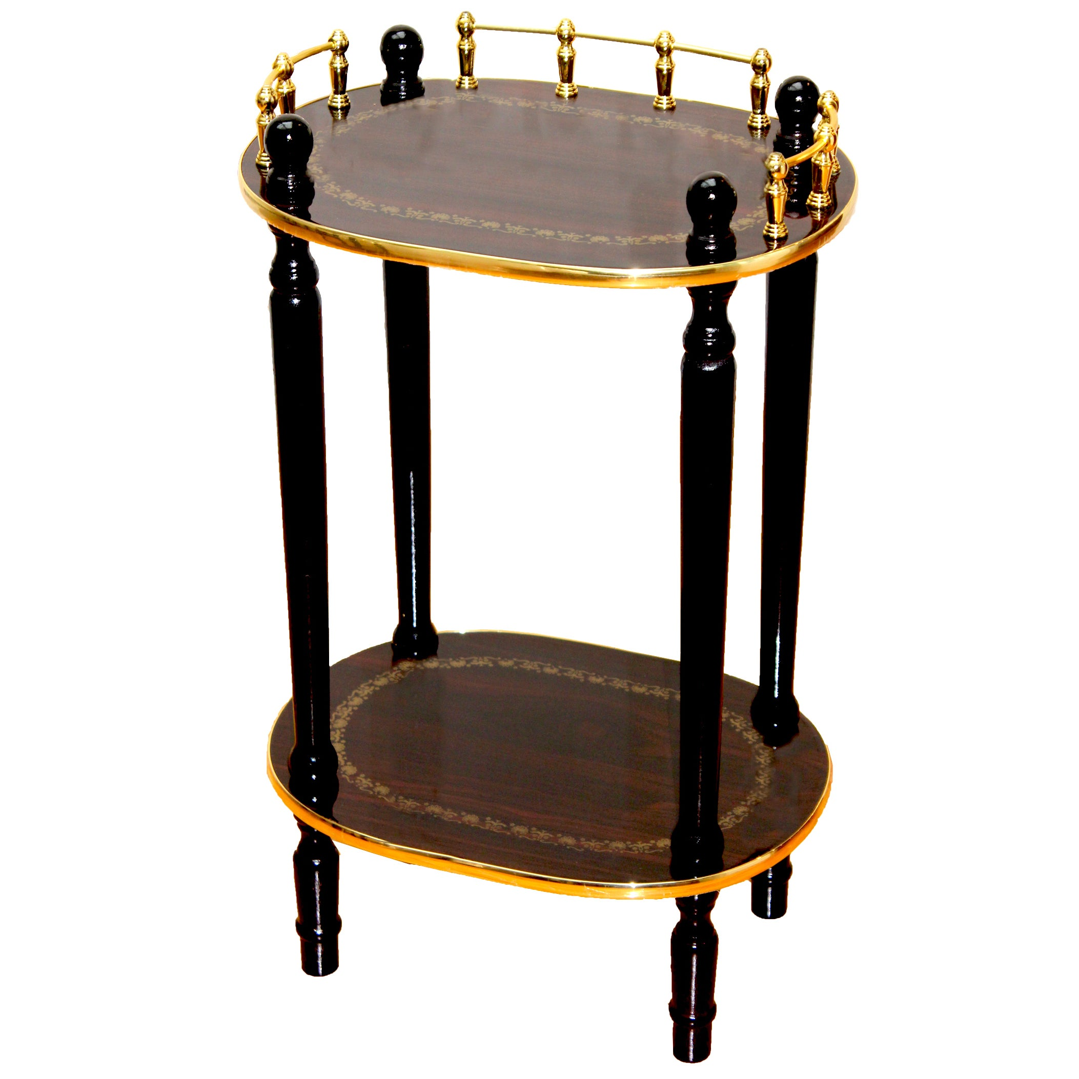 Telephone Table 2-tiered telephone table, gold marble and cherry finish 2-tiered