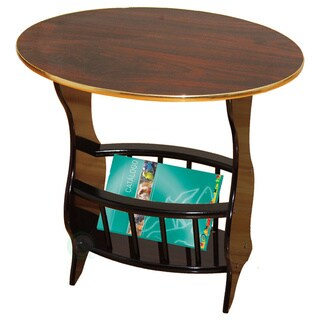 Espresso Oval Side Table with Magazine Holder