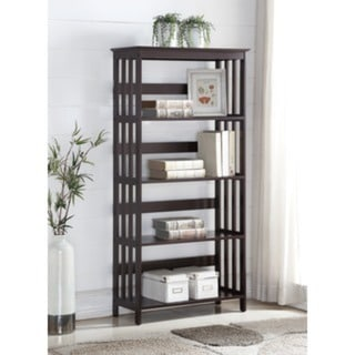 Aix Espresso Finish Wooden 4 Shelves Bookcase