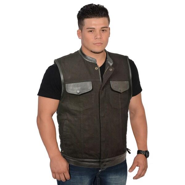 Men's Side Lace Up Denim Vest