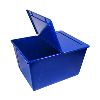 16 Gallon (60L) Storage Tote with Folding Lid Blue (Case of 4)