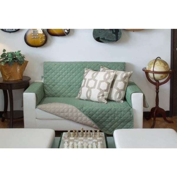 Perfect Fitting Diamond Quilted Reversible Sofa Cover