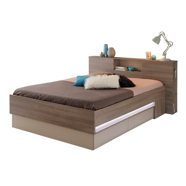 Satty walnut finish Full Platform Bed with Drawers