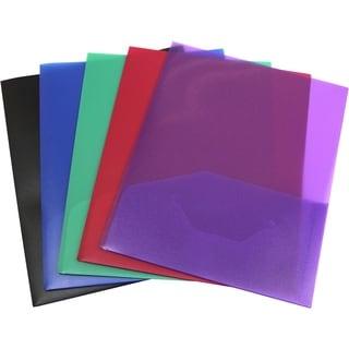 Poly Two-pocket folder by Storex 14mil blue