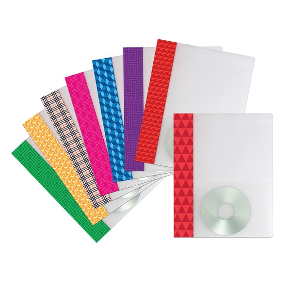 Poly Two-pocket clear folder with Stripe