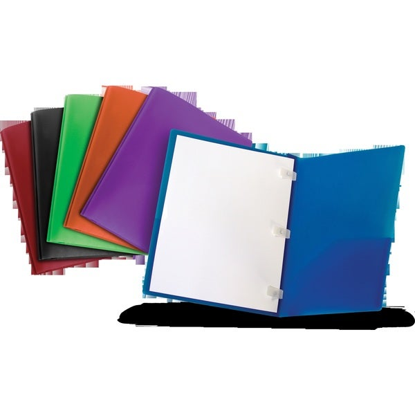 Thicker Poly Two-pocket folder with Plastic Prongs by Storex