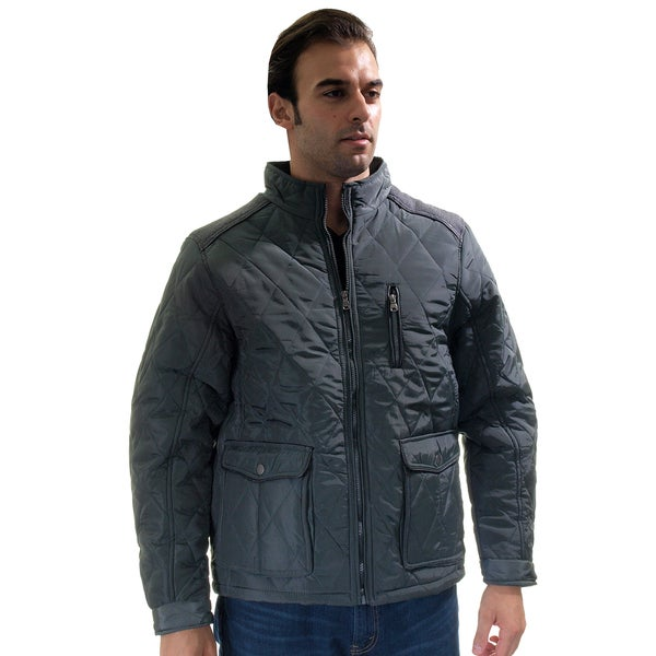 Men's Quilted Fur-Lined Zip Up Jacket