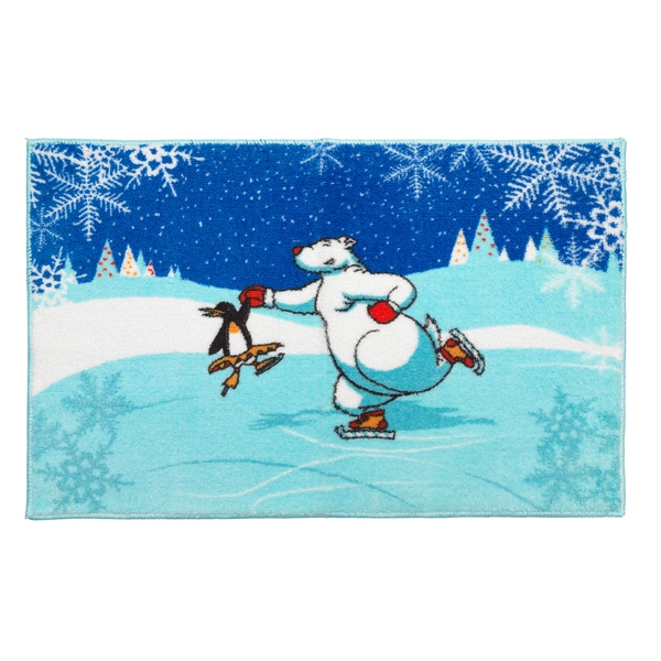 Ice Dancers Holiday Themed Christmas Bath Rug