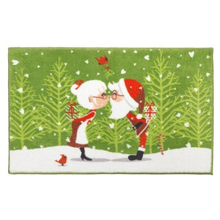 Kissing Claus Holiday Themed Christmas Bath Rug