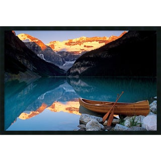 Canoe On Lake Louise' Framed Art Print with Gel Coated Finish 37 x 25-inch