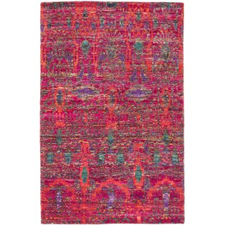 ecarpetgallery Sari Silk Red Sari Silk Rug (5' x 7')