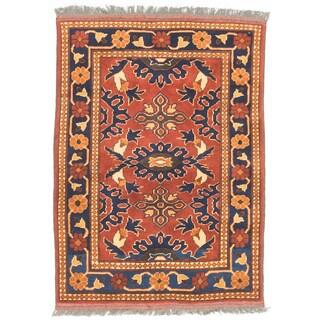ecarpetgallery Uzbek Kargahi Orange Wool Rug (2' x 3')