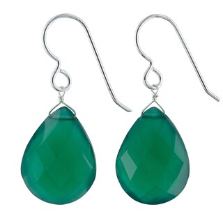 Ashanti Emerald Green Chalcedony Gemstone Sterling Silver Handcrafted Drop Earrings