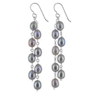 Ashanti Freshwater Platinum Pearl Chandelier Sterling Silver Handamde Earrings
