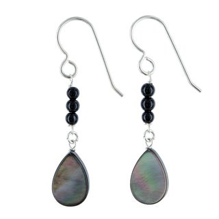 Ashanti Mother of Pearl and Black Onyx Gemstone Sterling Silver Handmade Earrings