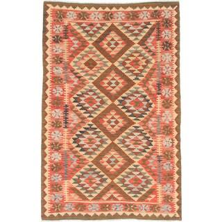 ecarpetgallery Sivas Orange/ Yellow Wool Kilim (5' x 7')