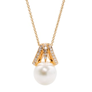 Kurt Wayne 14k Yellow Gold 1/5ct TDW Diamond and Pearl Pendant