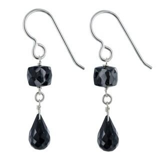 Ashanti Black Spinel Gemstone Sterling Silver Handmade Dangle Earrings