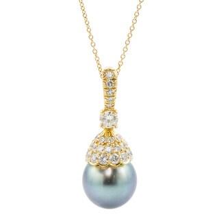 Kurt Wayne 18k Gold 1 1/2ct TDW Diamond and Tahitian Pearl Drop Necklace (F-G, VS1-VS2)