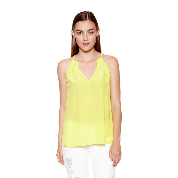 Joie Women's Yellow Elspeth Silk V-Neck Tank