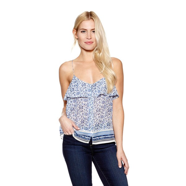 Joie Women's Melila Floral Print Tank with Ruffle